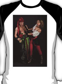 Pirate couple on black background  T-Shirt