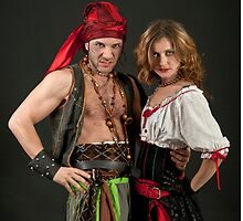 Pirate couple on black background  by PhotoStock-Isra