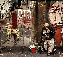Disabled person and rocking horse by Roberto Pagani