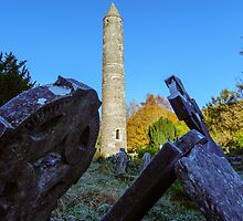 Round tower and graveyard, Glendalough, County Wicklow, Ireland by Andrew Jones