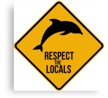 Respect the dolphins, respect the locals. Surf. Canvas Print
