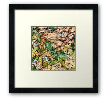 MODERN tangled, green and tan ART, hand DRAWN bit by bit digi Framed Print