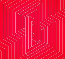 Modern minimal Line Art / Geometric Optical Illusion - Red Version  by badbugs