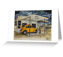 Taxi at Abandoned Petrol Station Greeting Card