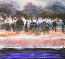 Misty Morning River, acrylic on canvass by Chris Armytage by Chris Armytage™
