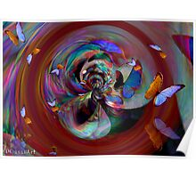 Abstract and Butterflies Poster