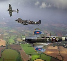 303 Squadron Spitfire sweep (cropped version) by Gary Eason + Flight Artworks