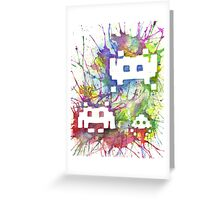 Rainbow Space Invaders Greeting Card