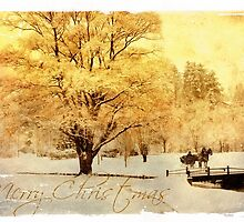 Two Horse Open Sleigh Christmas Card  by Miles Moody
