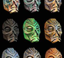 Skyrim Pixel Dragon Priest Masks by Elise V.