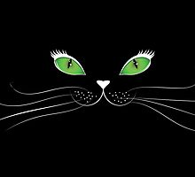 Cartoon cat face in black by AnnArtshock
