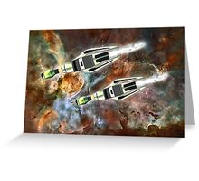 Two Galactic Cruiser/Fighters at NGC 3372 - all products Greeting Card