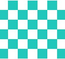 Cyan And White Checkered Print by KCavender