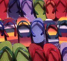 Flip flops for sale. Central Market. Stone Town. Zanzibar. Tanzania. by Steve Outram