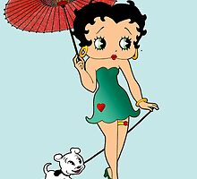 Betty Boop & Pudgy - Out For A Stroll by Everett Day