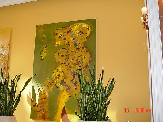 One of Chitra Ramanathan's signed paintings in the Bellagio Conservatory, Las Vegas by Chitra Ramanathan