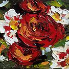 Floral II - Scarlet and White by Trisha Lamoreaux