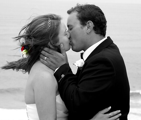 Bride and Groom Kiss by Emma Close