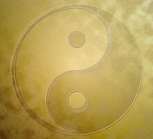 Yin and yang with gold dust by fuxart