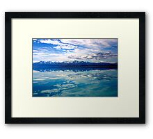 New Zealand lake and mountains landscape Framed Print