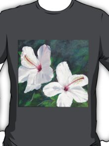 Hibiscus Flowers!  Oil on Canvas, 30 x 30 cm.  T-Shirt