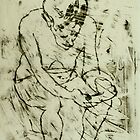 fara monoprint sitting forward with phone by donnamalone