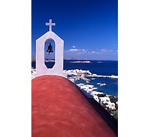 Greece. Cyclades Islands. Mykonos. Greek Orthodox Church and the harbour in Mykonos Town. Photographic Print