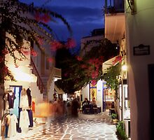 Greece. Cyclades Islands. Mykonos. An alleyway in Mykonos Town at night. by Steve Outram