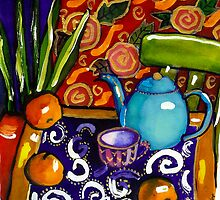 teapot still life watercolour painting by genevievem