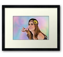 Teen Hippie flower child on psychedelic background  Framed Print