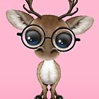 Cute Curious Nerdy Reindeer Wearing Glasses Pink by Jeff Bartels