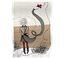 Stitch with bird Poster