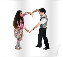 Valentine's Day - Young couple forms a heart shape with their arms  Poster