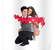 Young Couple with a heart shaped paper chain  Poster