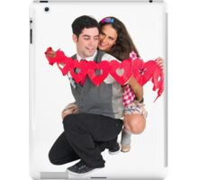 Young Couple with a heart shaped paper chain  iPad Case/Skin