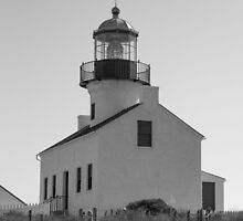 San Diego Lighthouse (B&W) by Dennis Schaefer