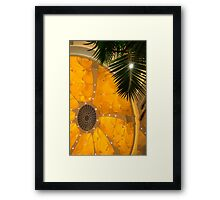 Happy Yellow Silk Decor With Stars Framed Print