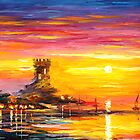 Original oil printing by L.Afremov OLD TOWER by leonid afremov