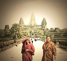 monks and angkor wat  by Amagoia  Akarregi