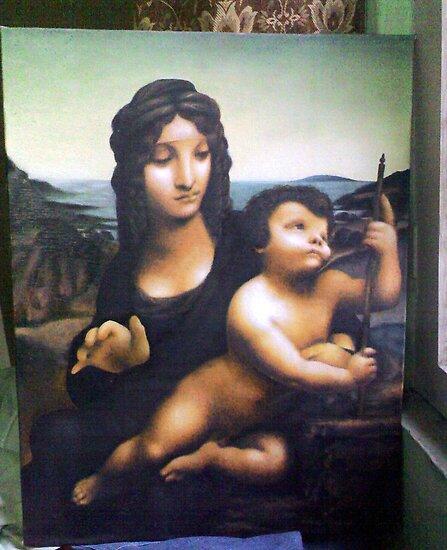 Copywork, Madonna with the Yarnwinder (Leonardo DaVinci) Oil On Canvas Board by life4paint
