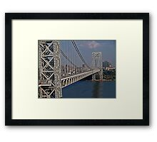 Washinton Bridge with the Little Red Light House at the Base Framed Print