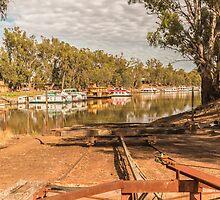 Slipway to the Murray River Echuca Australia by Pauline Tims