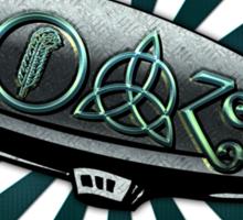 ANCIENT PAGAN SYMBOLS ON A ZEPPELIN - REEL STEEL/BLUE GREEN Sticker