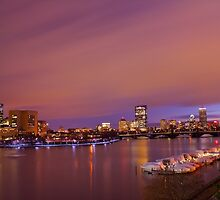 pink boston skyline by evanguarino