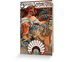 'Biscuits Lefevre-Utile' by Alphonse Mucha (Reproduction) Greeting Card