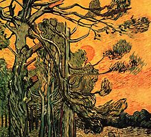 'Pine Trees Against A Red Sky with a Setting Sun' by Vincent Van Gogh (Reproduction) by Roz Abellera Art