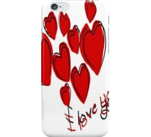 I Love You Greeting Card With Hearts iPhone Case/Skin