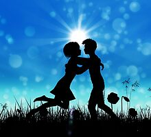 Couple silhouette on grass field 3 by AnnArtshock