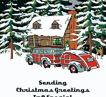 Daughter And Her Fiance Sending Christmas Greetings Card by Gear4Gearheads