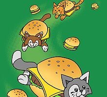 Cat Cheeseburger Train by jellysoupstudio